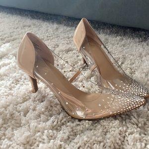 Thalia clear studded heels